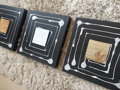 Painting Ex Show Home By Vallo White Black Abstract Stunning One-off New 100x31