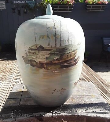 Vintage Stunning Large Chinese Hand Painted Vase/jar With Lid Signed