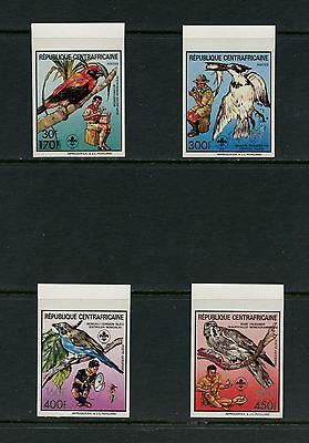 Central Africa 1988 #Mi1348-51B birds scouting IMPERF SURCHARGED 4v. MNH J566