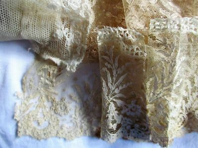 Large Antique Lot Of Embroidered Cotton Lace~Some Hand Made~Alencon~Needlerun+