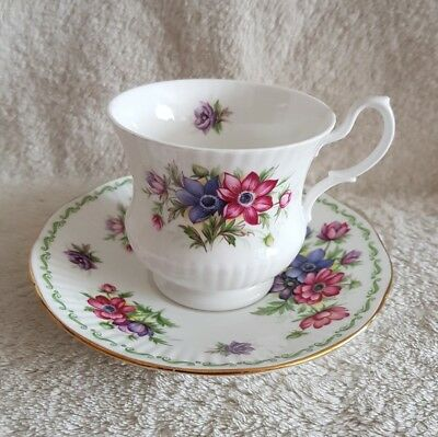 Queens/Rosina China Special Flowers July Anenome Cup & Saucer