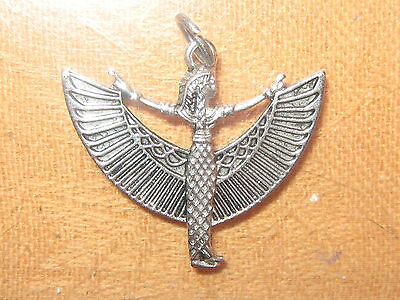 New 30Mm Silver Tone Egypt Egyptian Isis Winged Goddess Pendant Charm  Necklace