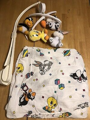 Rare Baby Looney Tunes Crib Mobile & Crib Fitted Sheet