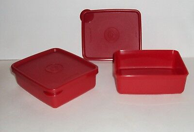 New Tupperware Mini Square Aways Containers Set of 2  Red