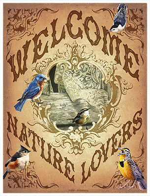 Welcome Songbirds  Novelty Sign | Funny Home Décor Garage Wall Plastic Gag Gift