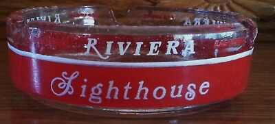Riviera Delmonico Hotel Casino Ashtray Hotel Vintage Round Red & Clear Glass
