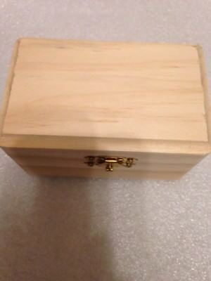 "Miniature Unfinished Pine Wood Box w/ Hinge and Latch 4 1/4"" X 2 1/2 x 2 1/4"""