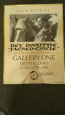BEV DOOLITTLE, Sacred Circle Commemorative Poster Gallery One OHIO 1991 signed