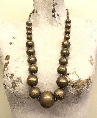 """Large Vintage Brass Bead Ball Necklace Hammered Style 29"""" Art Deco Antique"""