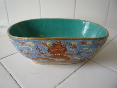 Antique Vintage Chinese Hand Painted Porcelain Enamel Dragon Bowl Signed Art