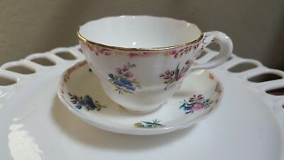 Vintage Teacup and Saucer, Gold Trimmed, Pink and Blue Flowers