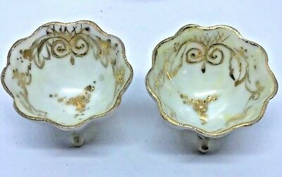 Lovely Small Japanese Condiment Dipping Bowl Pair with Gold Accents Porcelain