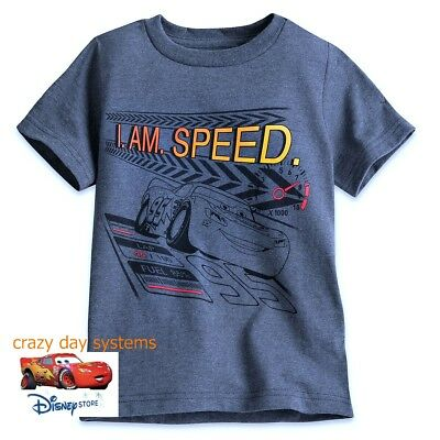 Disney Store Lightning McQueen Cars I Am Speed  T Tee Shirt Size 2/3 4 Boys NWT