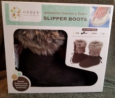 Order Home Collection Womens Memory Foam Slipper Boots Small 7-8 Black Fur C3