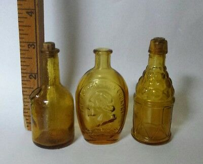 3 VINTAGE GLASS BOTTLE Brown Golden Color Miniature Small bottles Collection