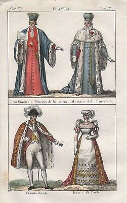 1840 - Frankreich France Minister Richter Adel Trachten costumes Lithographie