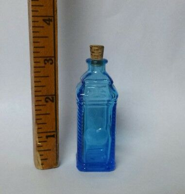 VINTAGE Glass Bottle Blue Apple Bottle Wheaton NJ Miniature Small