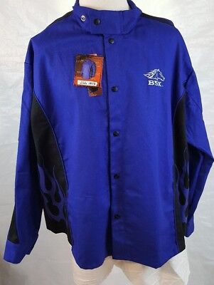 Revco BSX BXRB9C Blue FR Welding Jacket Blue Flames 3XL NWT Snap Front