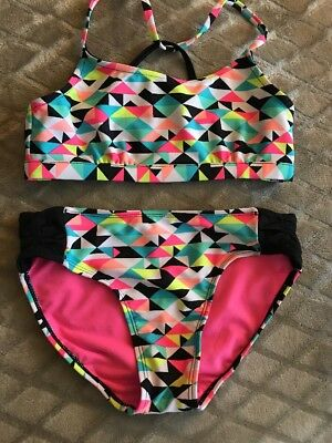 Girls Justice 2 Piece Bathing Suit Size 12 Excellent Condition NWOT