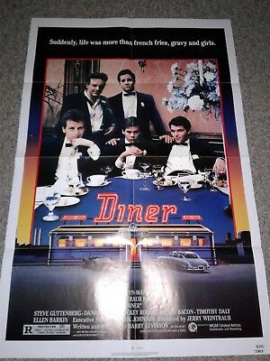 Diner original movie poster 1982 Mickey Rourke Kevin Bacon folded