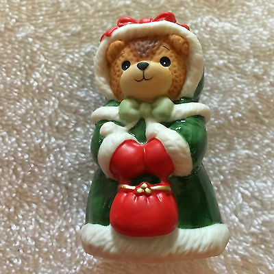 Lucy & Me Christmas Holiday Girl Bear With Green Coat Lucy Rigg ENESCO 1987