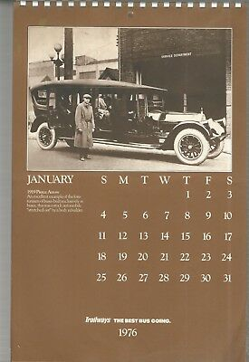 "1976 Trailways Bus Co. 11"" X 17"" Wall Calendar - Unused. 12 Photo Classic Buses."