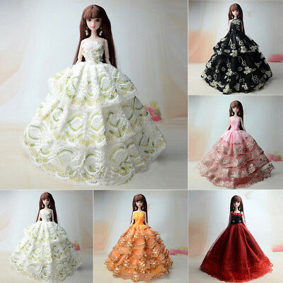 Lot 5 PCS Fashion Handmade Wedding Party Clothes Dress Gown For Barbie Doll Gift