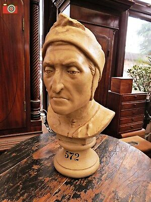 A Large Antique Style Dante Bust Statue. Stunning Item. Authentic Models