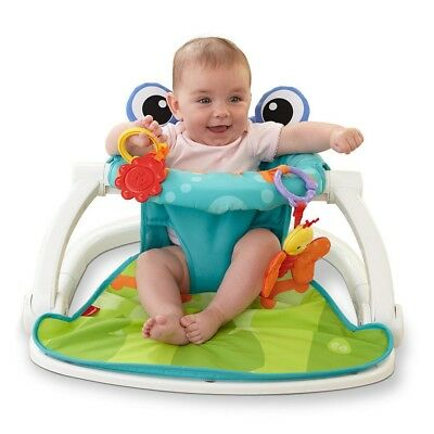 Fisher-Price Frog Sit-Me-Up Baby Portable Floor Seat Folding Travel Friendly Toy
