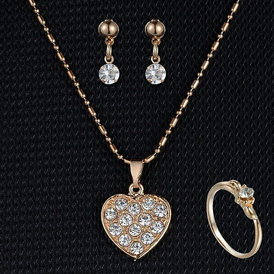 Gold Wedding NEW Fashion Heart neceklaces Ring Earring Women lady Jewellery sets