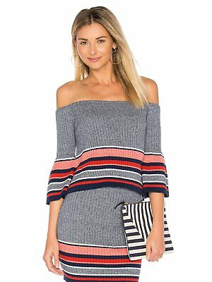 Lovers + Friends Outfit Skye Off Shoulder Top Mini Skirt Set Blue S NWT $266