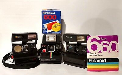 Lot 3 Polaroid SX-70 Rainbow Time-Zero Auto Focus 660 One Step Close Up Cameras