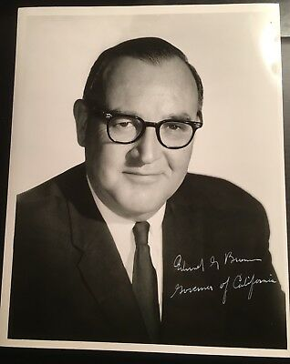 """Signed Picture of California's 32nd Governor, Edmund Gerald """"Pat"""" Brown"""