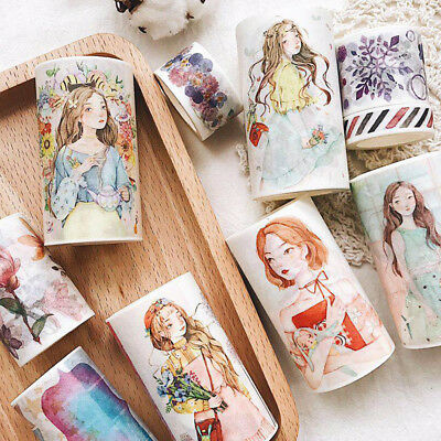 NEW DIY Girl Washi Sticker Decor Roll Paper Masking Adhesive Tape Crafts Gifts