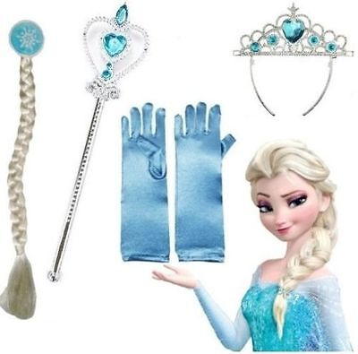 Frozen Princess Elsa Accessories Set Tiara Gloves Crown Hair Piece Wand New