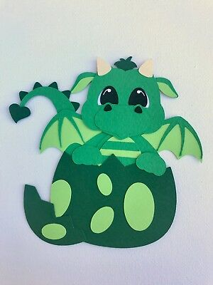 Fully assembled green hatching dragon paper piecing / die cut