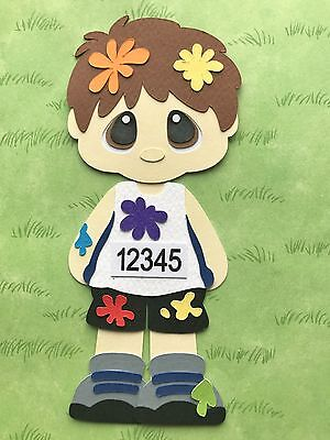 Color Run boy fully assembled paper piecing / die cut