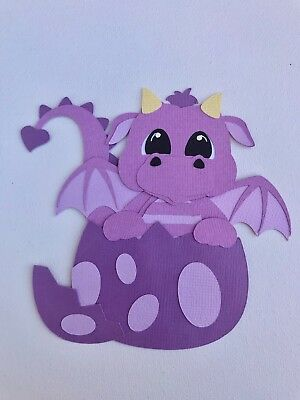 Fully assembled purple hatching dragon paper piecing / die cut