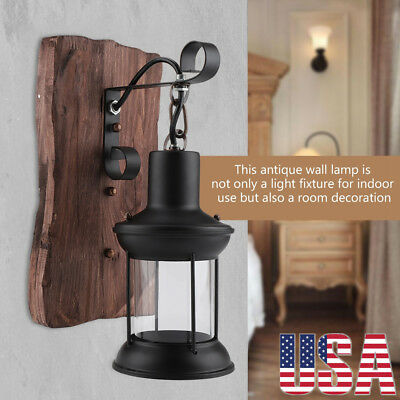 Retro Antique Vintage Rustic Lantern Lamp Wall Sconce Light Fixture In/Outdoor