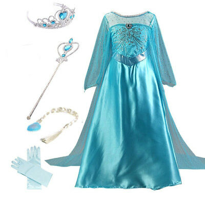 Frozen Elsa Dress Girl Kid Halloween Party Costume Princess Fancy Outfit 4-10Y