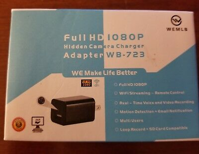 WEMLB WB-723 USB Hidden Camera Charger Adapter WB 723 Spy HD 1080P Wi-Fi Motion