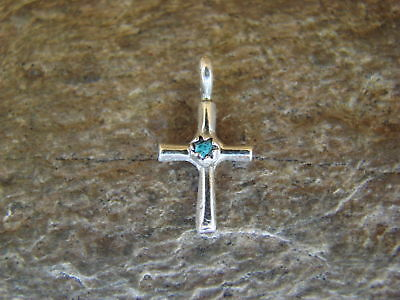 Navajo Jewelry Sterling Silver Turquoise Cross Charm / Pendant by Sylvia Chee