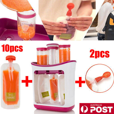 AU Baby Feeding Food Squeeze Station Toddler Infant Fruit Maker Dispenser LG