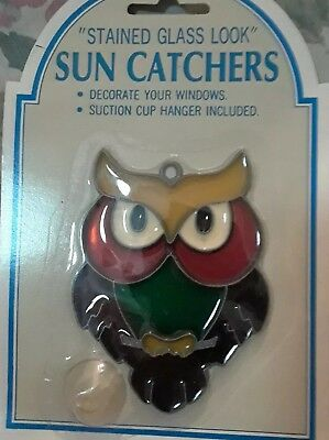 red eyed Owl  Suncatcher Sun Catcher Stained Glass-style window hanging