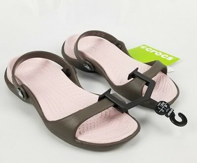 Crocs Cleo Ladies Womens Pivoting Ankle Strap Sandals Chocolate/Cotton Candy 5