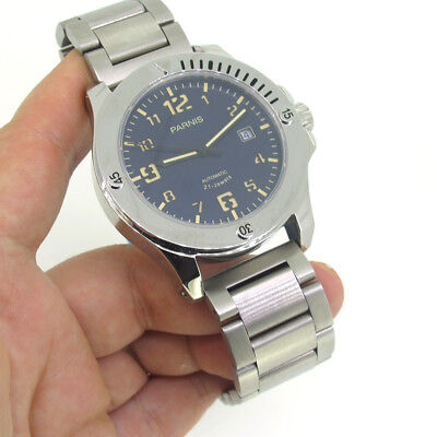 44mm Parnis Sapphire Miyota Automatic Men's Mechanical Watch Stainless Bracelet