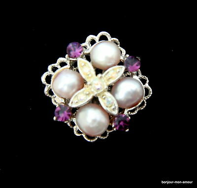 sign. Sarah Coventry Strass, Aurora & faux Perlen Ring