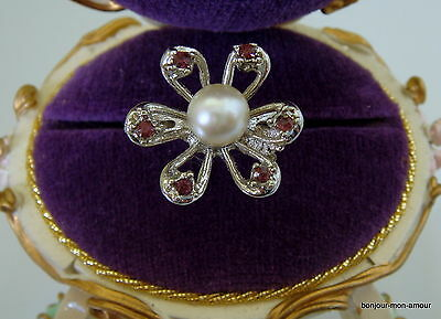 Vintage, 1970's Retro, alter Amethystfarbe Strass Ring mit Faux Perle
