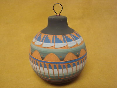 Native American Painted Hand Etched Christmas Ornament! Pottery