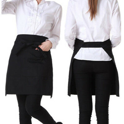 Short Apron Catering Butcher Kitchen Cooking BBQ Craft Baking Chefs Black